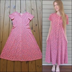 Vintage 90's M Coral Floral Button Up Maxi Dress